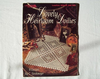 8 Crochet Doily Patterns Lovely Heirloom Doilies Booklet Leisure arts 2648 leaflet thread crochet patterns Square doily spider web pineapple
