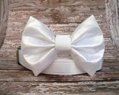White Satin Wedding Bow Tie Dog Collar