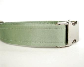 Satin Wedding Dog Collar - Celery