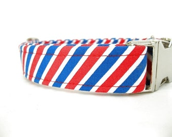 Striped Dog Collar with Nickel Plate Hardware - Red White and Blue