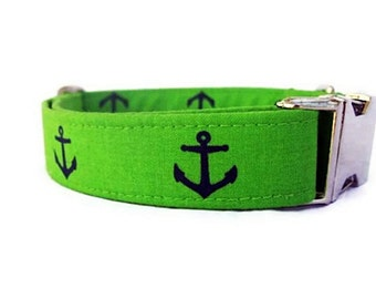 Nautical Dog Collar with Nickel Hardware - Anchors on Lime