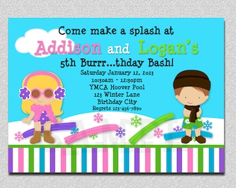 Indoor Pool Party Invitation Siblings Twins Winter Pool Party Birthday Invitation Printable