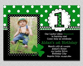 St Patricks Day Birthday Invitation 1st Birthday St Patricks Day Birthday Party Invitation Boys Girls Printable