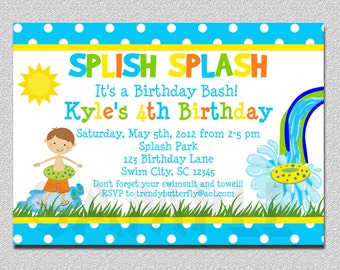 Boys Pool Waterslide Birthday Invitation ,  Waterslide Birthday Invitation Printable Boys or Girls