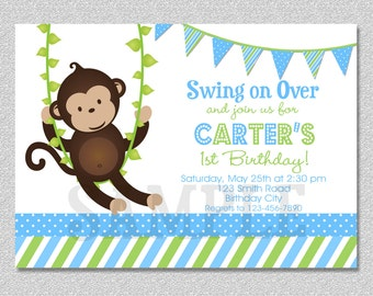 Monkey Birthday Invitation , Boys Mod Monkey Birthday Party Invitation