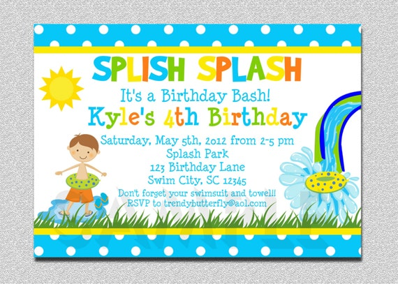 boys pool waterslide birthday invitation waterslide, Birthday invitations