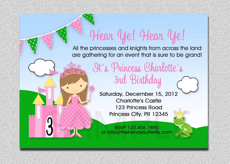 Princess Birthday Invitation Princess Birthday Party - Birthday invitation princess