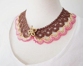 Crochet Lace Collar (Beaded Lace Collar I-a), Brown, Pink
