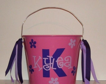 personalized metal PAIL bucket monogram Initial galvanized tin bucket 5 qt Summer gift