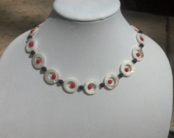 White Red Black Donut Holed Handmade Beaded Necklace