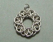 Sterling Silver Chain Maille Helm Flower Pendant - N633