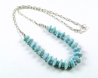 Larimar & Sterling Silver Necklace - N642B