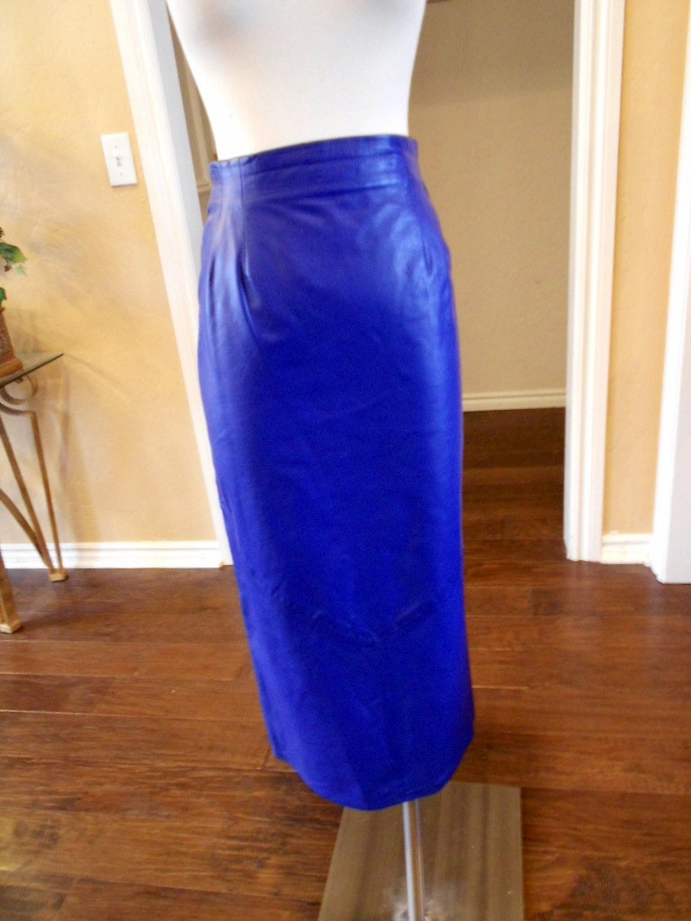 vakko leather pencil skirt vintage 80s cobalt blue pencil