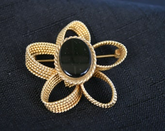 Vintage Daisy and Black Gem Brooch