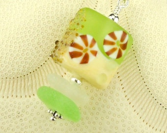 Ocean Lampwork Bead And Genuine Spring Green  Sea Glass Necklace