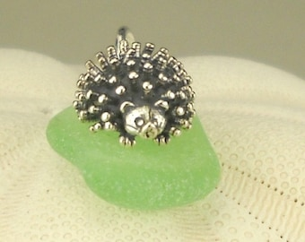 Hedgehog Necklace Sea Foam Green Sea Glass