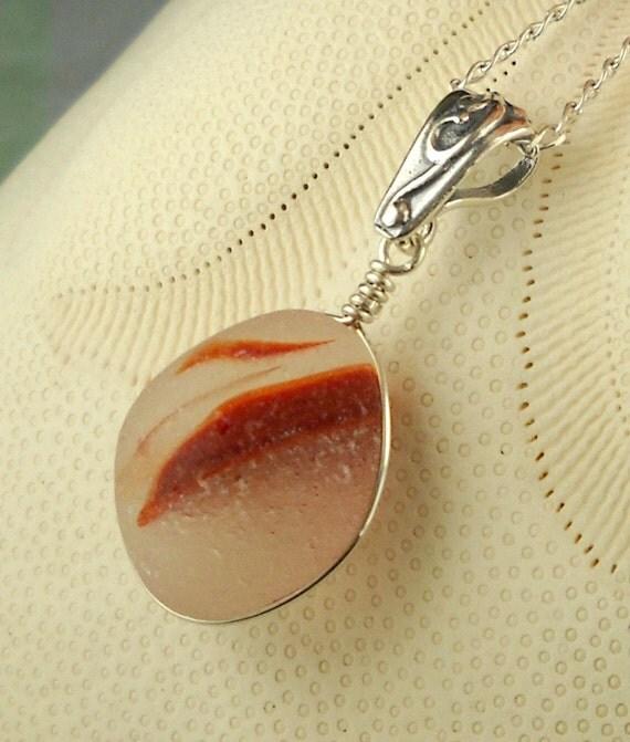 Eco Friendly Wire Wrapped Santa Cruz Sea Glass Necklace Fiery Red