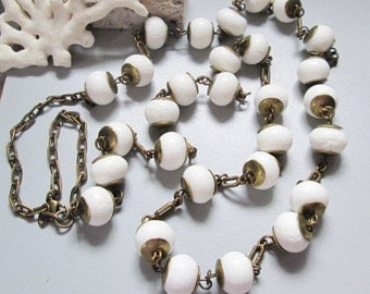 White Corall Brass Long Necklace