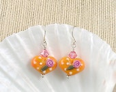 Yellow  Valentine's Lampwork Heart Earrings with Pink Roses