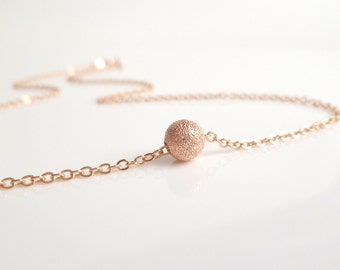 Rose Gold Stardust Ball Necklace - simple little rough textured sparkling sphere on delicate pink / rose gold chain - Fly Me to the Moon