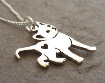 Kitty Cat Heart Sterling Silver Handmade Pendant