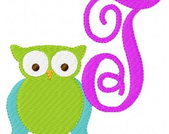 INSTANT DOWNLOAD Hoot Owl Machine Embroidery Monogram Design Set