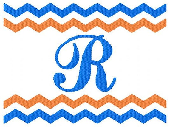 Chevron zig zag monogram machine embroidery
