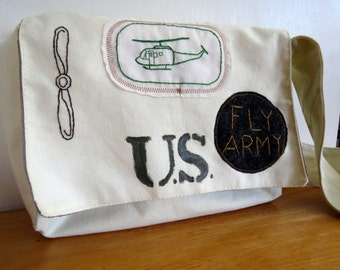 Fly Army Messenger Bag: Hand Stitched Army Aviation Patches on Canvas Bag