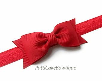 Red Hair Bow, Red Headband, Red Hair Bow Clip, Toddler Headband, No Slip Hair Clip, Christmas Bow, Valentine Hair Bow, Girls Hair Bow, 78