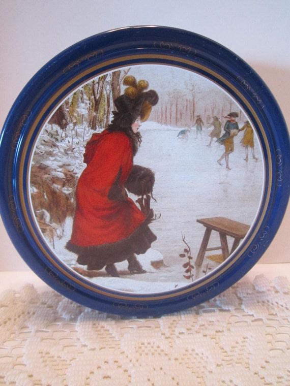 Victorian Ice Skating Scene Decorative Vintage Tin Dan Cake