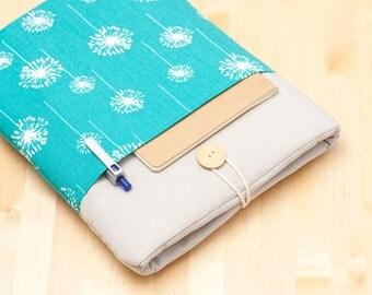 iPad Pro 10.5 case / iPad Pro 9.7 sleeve / iPad cover / iPad air 2 sleeve  padded  - blue dandelion with pockets -