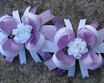 2 Lavender and White Boutique Hair Bows - Mini Boutique Hair Bow Set - Pigtail Hair Bow Set of 2 MTM