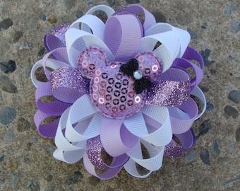 Minnie Mouse Purple Hair Bow Lavender and White Hair Bow