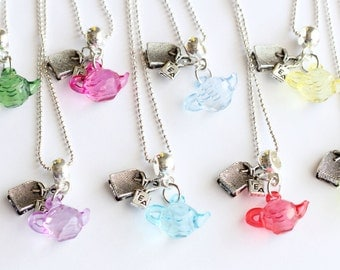 Time For Tea Party Teabags Teabag Favor Mixed Colors 10 Necklaces