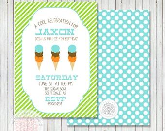 PARTY PRINTABLE - Ice Cream Party Birthday Party Invitation - Petite Party Studio