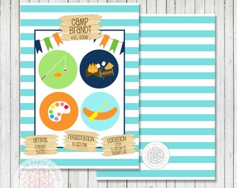 Summer Camp/Camping Printable Birthday Party Invitation - Petite Party Studio