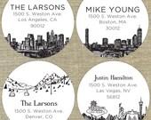 City Skyline Address Labels- set of 96 labels