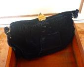 Vintage Black Velour Purse