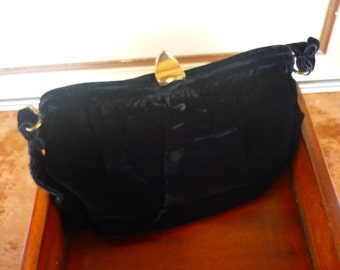 Vintage Black Velour Purse