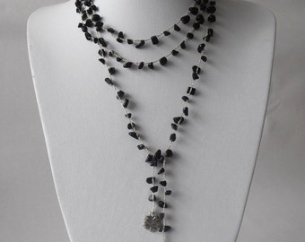 Long Necklace, Onyx Chips Stone, Crochet Jewelry, Crocheted Necklace, Gift For women, Moms Gift, Holidays Gift, Knitting Jewelry, Handmade.