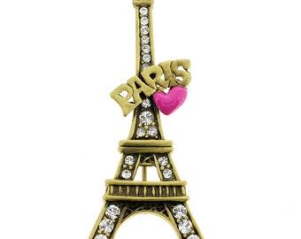 Pink Heart Paris Eiffel Tower Brooch/Pendant 1010511