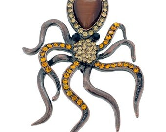 Vintage Style Topaz Octopus Pin Brooch 1001112