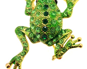 Green Frog Pin Swarovski Crystal Animal Pin Brooch 1010172
