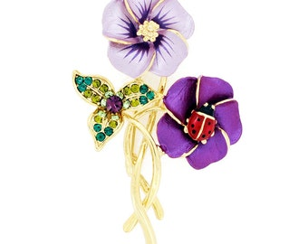 Purple Hibiscus With Red Ladybug Swarovski Crystal Pin Brooch 1011792