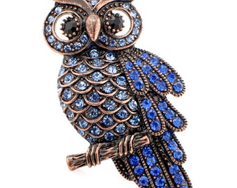 Vintage Style Sapphire Blue Owl Pin Brooch 1002771