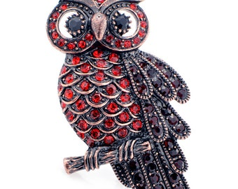 Vintage style Ruby Red Owl Bird Pin Brooch 1002772