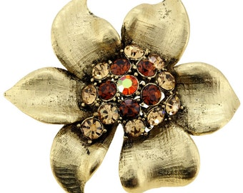 Vintage Style Golden Flower Pin Brooch 1001144