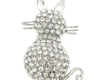 Silver Cat Kitty Pin Animal Pin Brooch 1003401