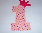 Iron On Fabric Applique Pink Dot BIRTHDAY Number 1 One With Crown