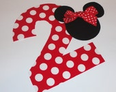 Iron On Fabric Applique Minnie Mouse Polka Dot BIRTHDAY Number 2 Two With MINNIE/MICKEY Mouse Head...You May Request Any Number